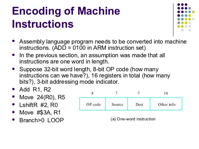 Encoding of MachineInstructions   Assembly language program needs to be converted into machine    instructions. (ADD = 01...