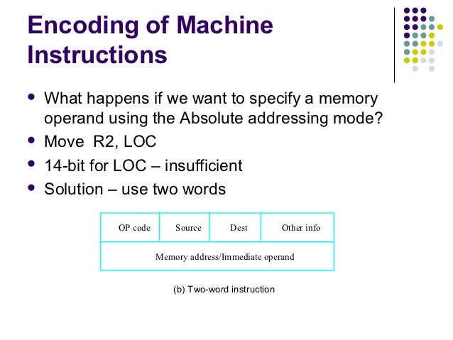 Encoding of MachineInstructions   What happens if we want to specify a memory    operand using the Absolute addressing mo...