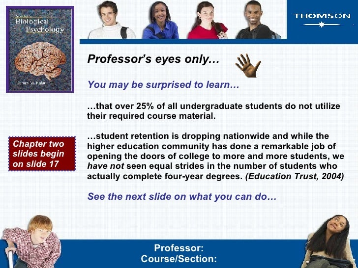 Professor's eyes only… You may be surprised to learn… … that over 25% of all undergraduate students do not utilize their r...