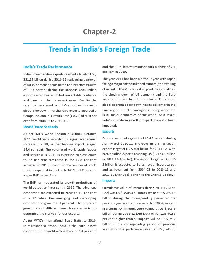 Chapter-2                 Trends in India's Foreign TradeIndia's Trade Performance                                   and t...