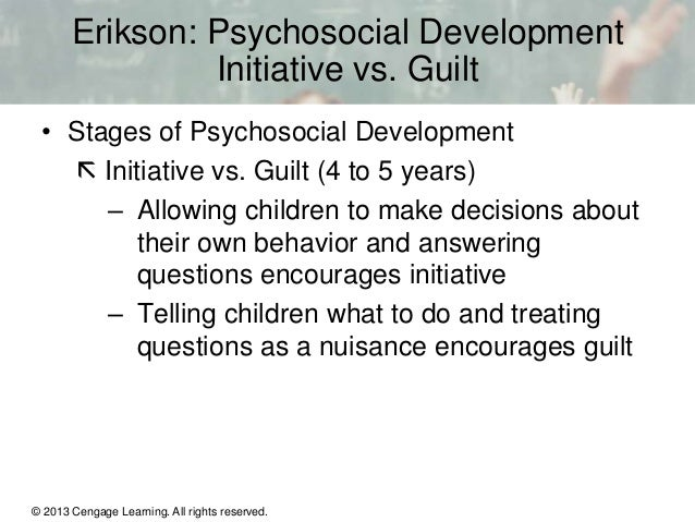 initiative vs guilt the third stage of erikson psychosocial development Erikson's eight stages of psychosocial development include trust vs mistrust,  autonomy vs shame/doubt, initiative vs guilt, industry vs inferiority, identity vs  role.