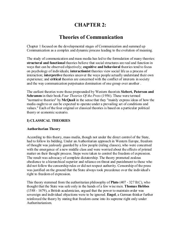 CHAPTER 2: Theories of Communication Chapter 1 focused on the developmental stages of Communication and summed up Communic...