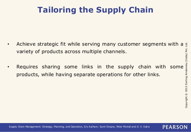 Copyright © 2013 Dorling Kindersley (India) Pvt. Ltd.  Tailoring the Supply Chain  • Achieve strategic fit while serving m...