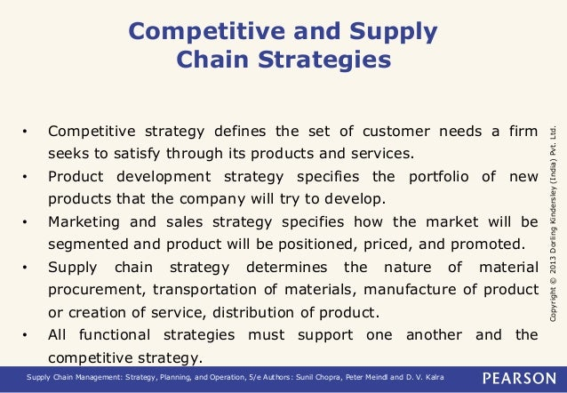 Copyright © 2013 Dorling Kindersley (India) Pvt. Ltd.  Competitive and Supply  Chain Strategies  • Competitive strategy de...