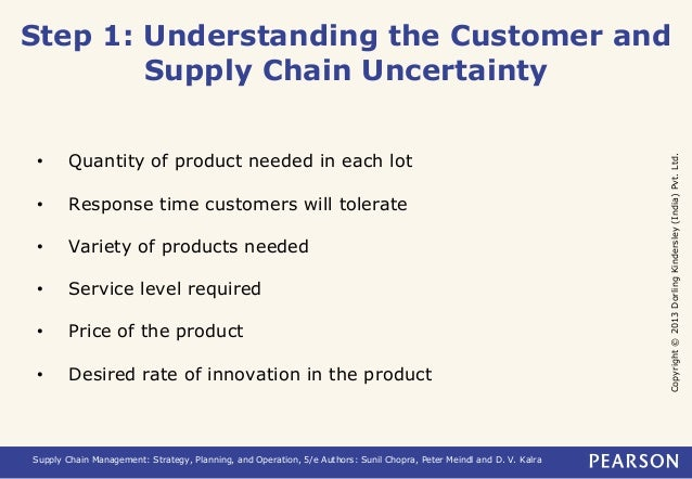 Step 1: Understanding the Customer and  Copyright © 2013 Dorling Kindersley (India) Pvt. Ltd.  Supply Chain Uncertainty  •...