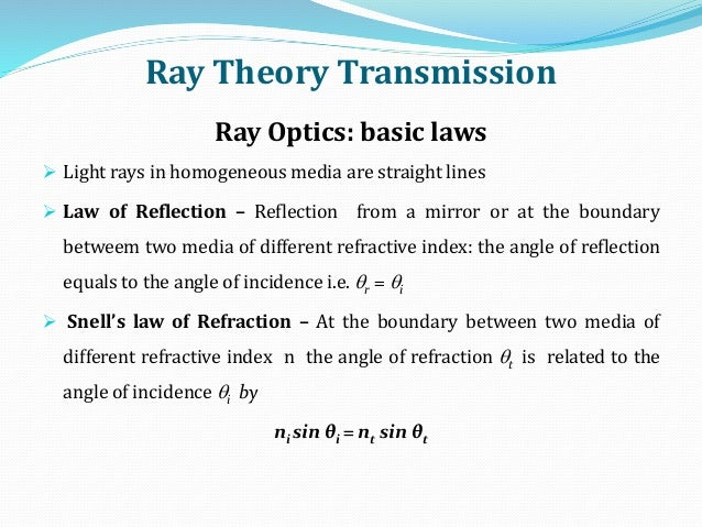 Ray Theory Transmission Ray Optics: basic laws  Light rays in homogeneous media are straight lines  Law of Reflection – ...