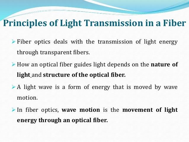 Principles of Light Transmission in a Fiber  Fiber optics deals with the transmission of light energy through transparent...