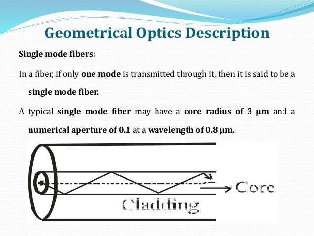 Geometrical Optics Description Single mode fibers: In a fiber, if only one mode is transmitted through it, then it is said...