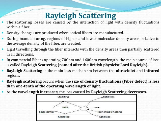 Rayleigh Scattering  The scattering losses are caused by the interaction of light with density fluctuations within a fibe...
