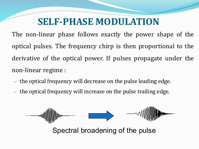 SELF-PHASE MODULATION Spectral broadening of the pulse The non-linear phase follows exactly the power shape of the optical...