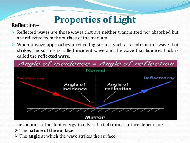 Properties of LightReflection--  Reflected waves are those waves that are neither transmitted nor absorbed but are reflec...