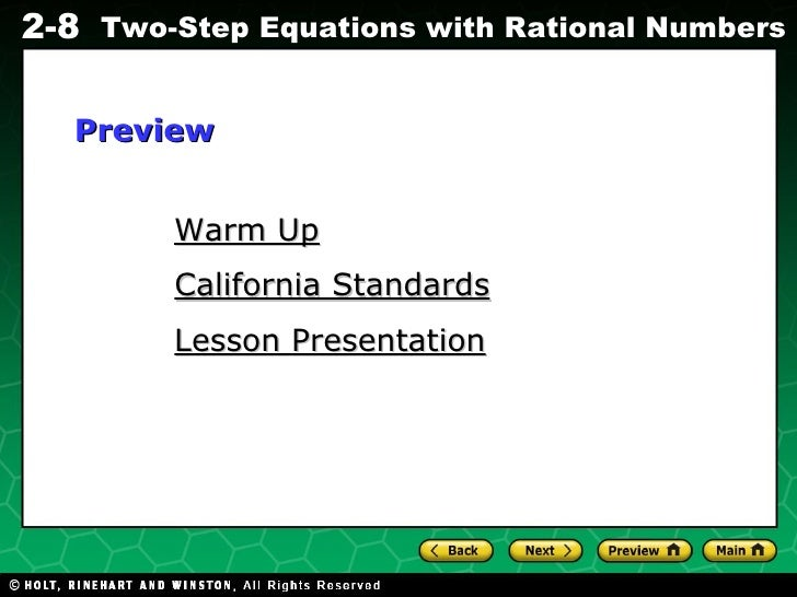 Warm Up California Standards Lesson Presentation Preview