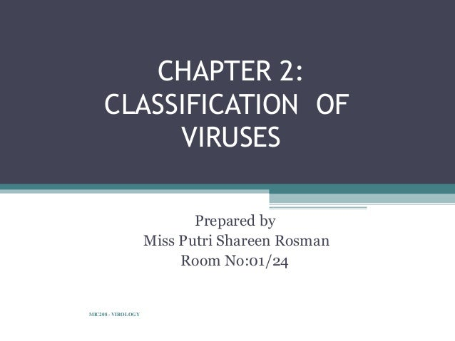 CHAPTER 2:     CLASSIFICATION OF          VIRUSES                           Prepared by                    Miss Putri Shar...