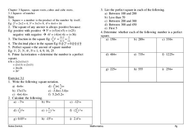 Mathematics Form 1 Chapter 3 Squares Square Roots Cubes And Cube Ro