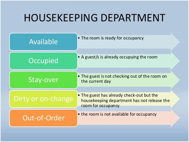 housekeeping department Hotel housekeeping i about the tutorial hotel housekeeping is an activity of keeping the hotel clean, tidy, and up to the highest standard of conduct this tutorial introduces you to various concerns of hotel  hotel housekeeping department is clean.