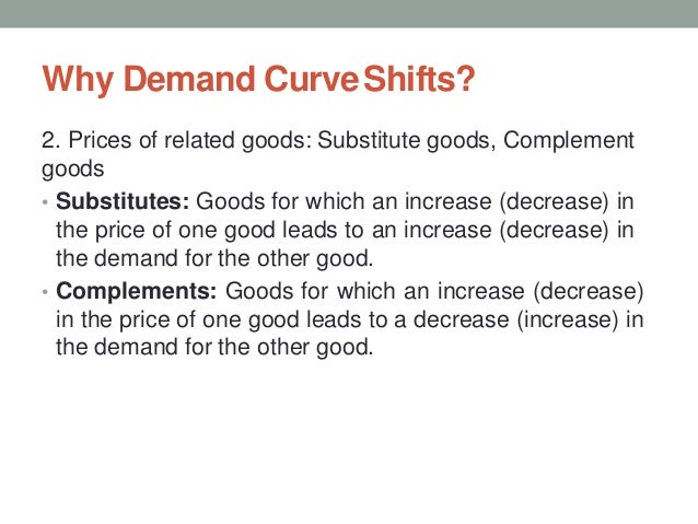 Why Demand CurveShifts? 2. Prices of related goods: Substitute goods, Complement goods • Substitutes: Goods for which an i...
