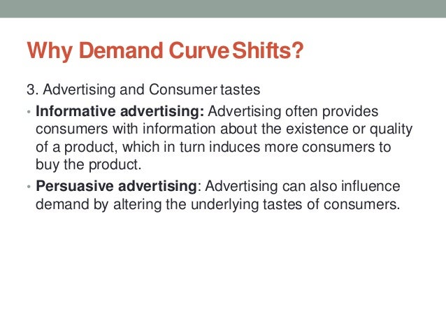Why Demand CurveShifts? 3. Advertising and Consumer tastes • Informative advertising: Advertising often provides consumers...