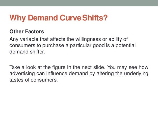 Why Demand CurveShifts? Other Factors Any variable that affects the willingness or ability of consumers to purchase a part...