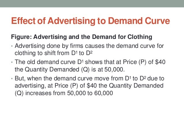 Effect of Advertising to Demand Curve Figure: Advertising and the Demand for Clothing • Advertising done by firms causes t...