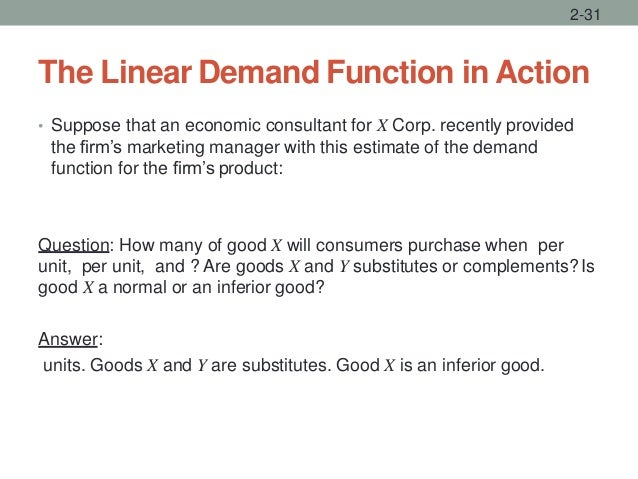 The Linear Demand Function in Action • Suppose that an economic consultant for X Corp. recently provided the firm's market...