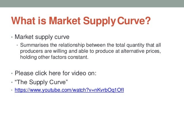 What is Market SupplyCurve? • Market supply curve • Summarises the relationship between the total quantity that all produc...