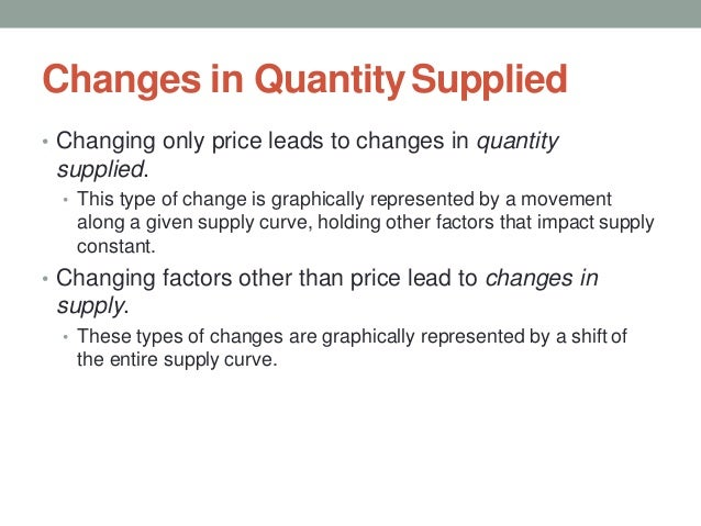 Changes in QuantitySupplied • Changing only price leads to changes in quantity supplied. • This type of change is graphica...