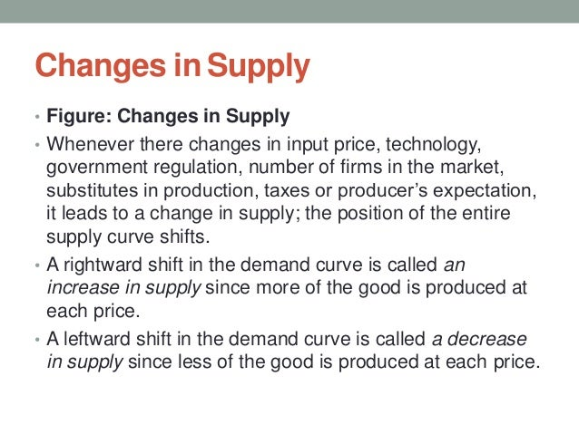 Changes in Supply • Figure: Changes in Supply • Whenever there changes in input price, technology, government regulation, ...