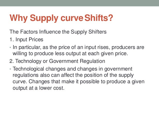 Why Supply curveShifts? The Factors Influence the Supply Shifters 1. Input Prices • In particular, as the price of an inpu...