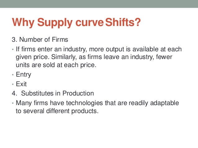 Why Supply curveShifts? 3. Number of Firms • If firms enter an industry, more output is available at each given price. Sim...