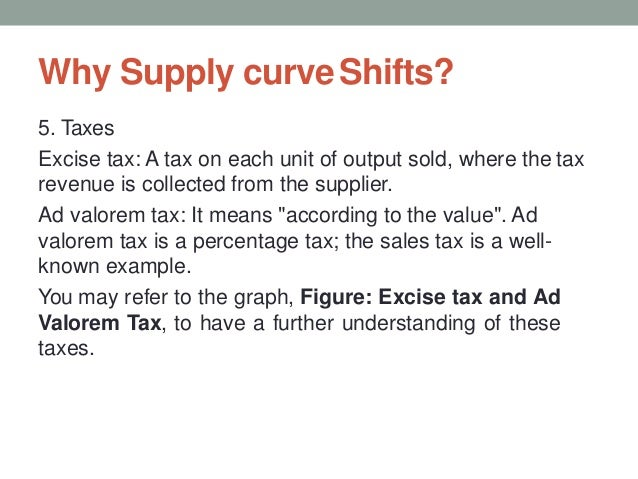 Why Supply curveShifts? 5. Taxes Excise tax: A tax on each unit of output sold, where the tax revenue is collected from th...
