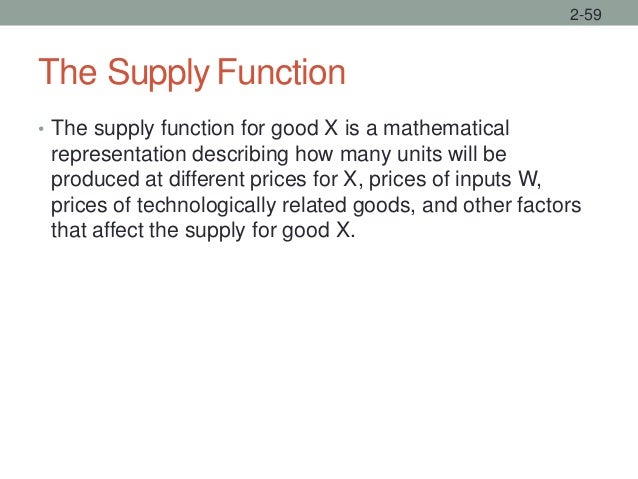 The Supply Function • The supply function for good X is a mathematical representation describing how many units will be pr...