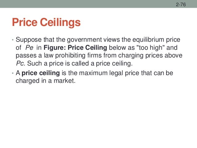"""Price Ceilings • Suppose that the government views the equilibrium price of Pe in Figure: Price Ceiling below as """"too high..."""