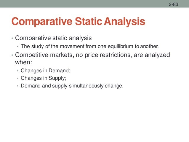 Comparative StaticAnalysis • Comparative static analysis • The study of the movement from one equilibrium to another. • Co...