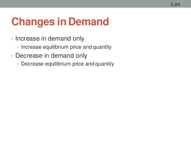 Changes in Demand • Increase in demand only • Increase equilibrium price and quantity • Decrease in demand only • Decrease...