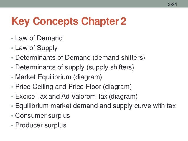 Key Concepts Chapter2 • Law of Demand • Law of Supply • Determinants of Demand (demand shifters) • Determinants of supply ...