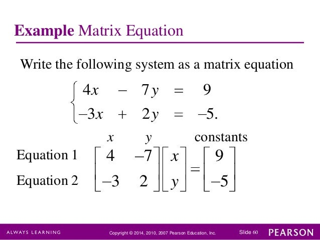 solving linear equations with matrices examples