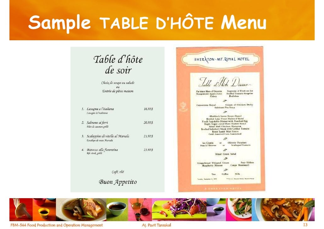 Russian Ala-carte Table Setting : Chapter 2 Menus, Recipes and Calculation