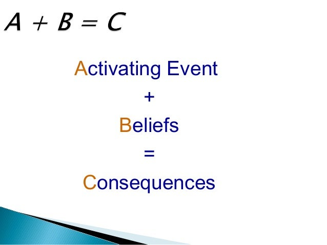 A+B=C Activating Event + Beliefs = Consequences  Consequence Activating Event Belief Studied for another wentup for a I'm ...
