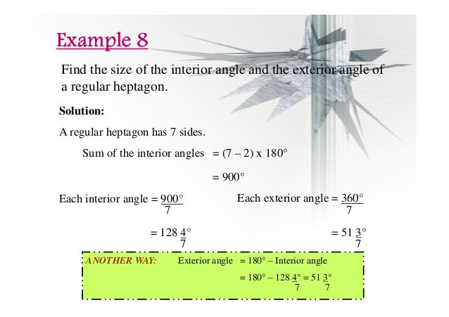 Chapter 2 polygons ii compatibility mode for Sum of exterior angles of a heptagon