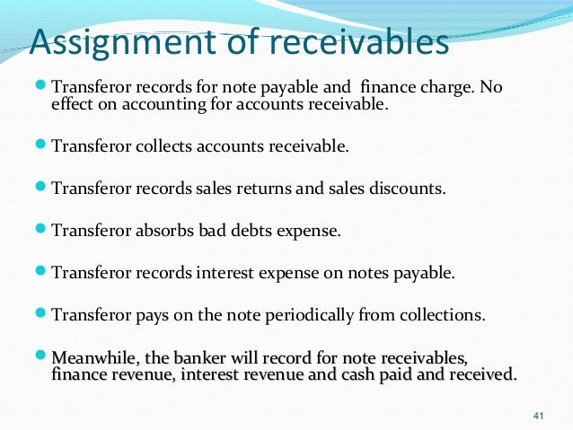 Assignment of Accounts Receivable Sample Clauses