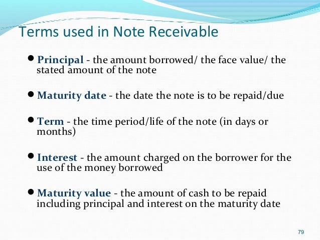 The maturity date of a note receivable