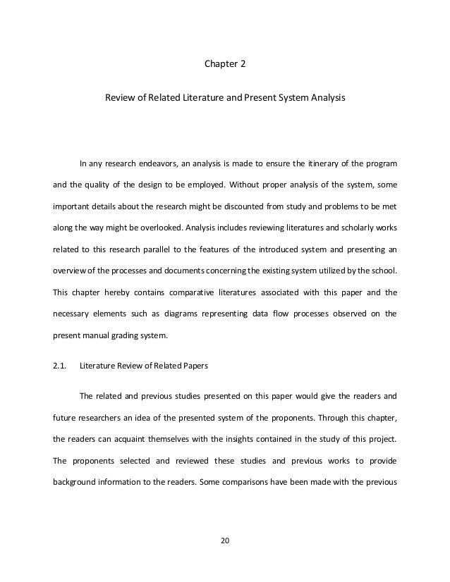 Chapter 2              Review of Related Literature and Present System Analysis       In any research endeavors, an analys...