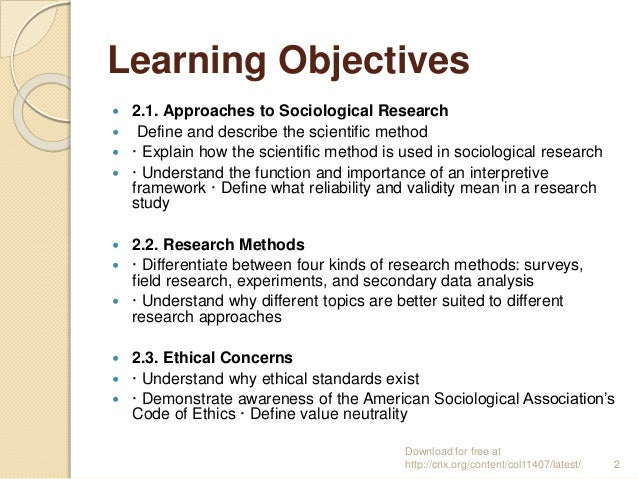explain how to define a research objectives