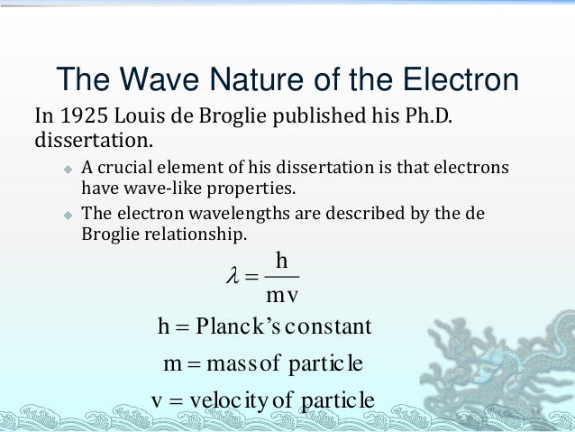 de broglie thesis Abstract louis de broglie's doctoral thesis developed a concept of waves associated with material particles that was soon incorporated into wave mechanics and later supported by experimental demonstrations.
