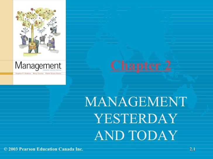 MANAGEMENT YESTERDAY AND TODAY Chapter 2 2.1 © 2003 Pearson Education Canada Inc.
