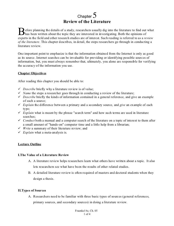 Chapter      5                                  Review of the LiteratureB     efore planning the details of a study, resea...