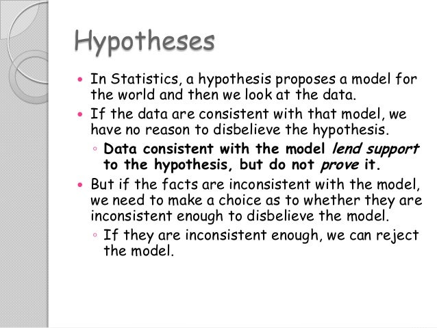 Hypotheses In Statistics, a hypothesis proposes a model for the world and then we look at the data.  If the data are cons...