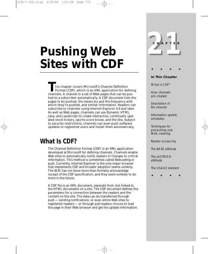 21                                                                       CHAPTER   Pushing Web Sites with CDF             ...