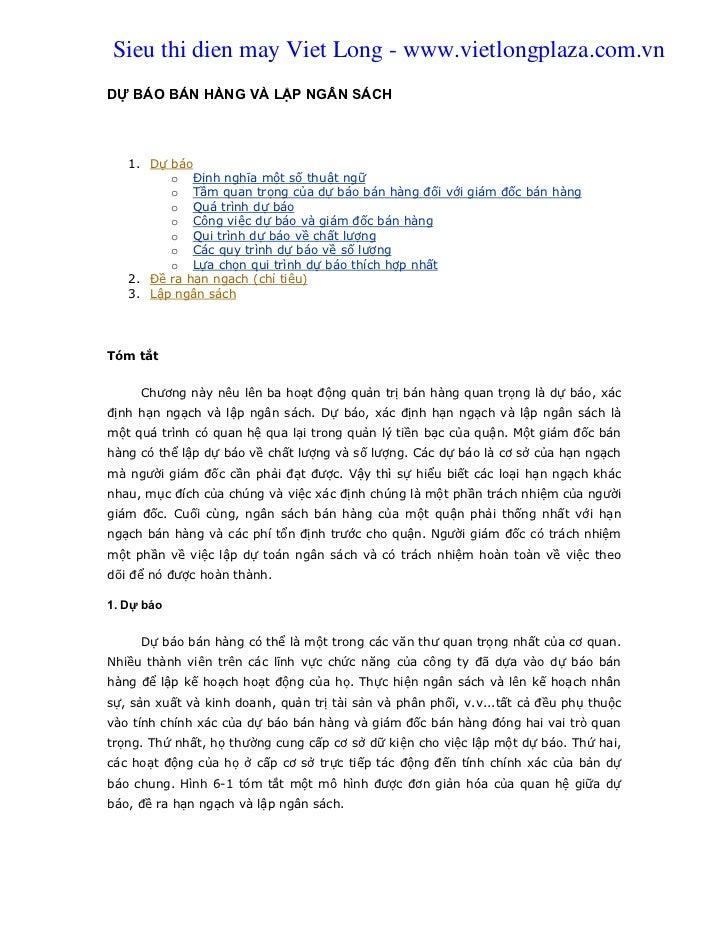 Sieu thi dien may Viet Long - www.vietlongplaza.com.vnDỰ BÁO BÁN HÀNG VÀ LẬP NGÂN SÁCH   1. Dự báo         o Định nghĩa mộ...