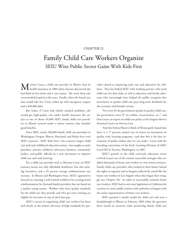 CHAPTER 21                     Family Child Care Workers Organize                      SEIU Wins Public Sector Gains With ...